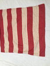 "Pottery Barn Single Euro Pillow Sham Linen Blend Striped Red Beige 26.5"" Sq."