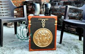 Antique Finest English Leather Antique Inspired Side Table Trunks Amazing Item