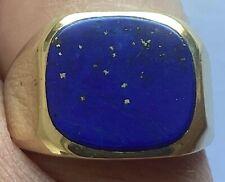 Siegelring Herrenring 585 Gold 14 Karat Gelbgold Lapislazuli Signet Ring 7,8 Gr.