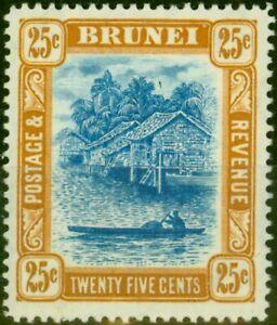 Brunei 1907 25c Pale Blue & Ochre-Brown SG30 Fine Mtd Mint