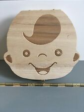 Brand New Baby Boy Tooth Teeth Wooden Latched Memory Box Keepsake Container