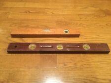 Vintage Wooden Precision Bobble Level Measuring Level Set of 2