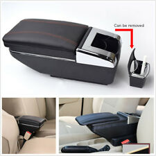 PU Leather Car Central Container Armrest Box With Cup Holder Storage Organizer