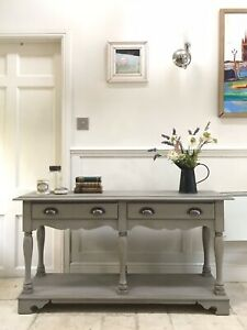 Vintage Grey Painted Sideboard Console Hall Side Table Pot Shelf