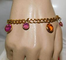 "Vintage Monet Gold Purple Bezel Crystal Charm Gold tone 7.5"" Chain Bracelet 2j11"