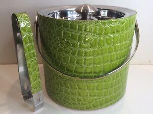 Kim Seybert Ice Bucket & Tongs Set Green Embossed Faux Crocodile Stainless Steel