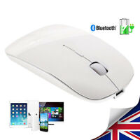 Wireless Rechargeable Mouse Ultra Thin Bluetooth White For Laptop PC Tablet Hot