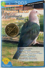 Malaysia Coin Card - Endangered Birds Series No. 11 Green Imperial Pigeon
