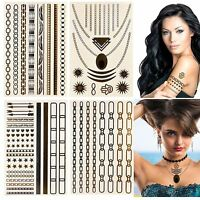 Metallic Shimmer Temporary Tattoos Body Art Silver Gold Chain Bracelet Jewellery