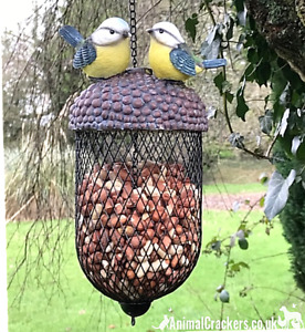 Bird NUT FEEDER Acorn with Blue Tits metal & heavy resin garden bird lover gift