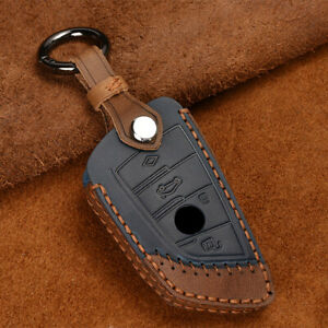 Leather Smart Key Cover Case Chain Holder FOB Shell For BMW X1 X5 X6 5 7 Series