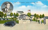 Linen Postcard OK F080 Will Rogers Memorial Museum Claremore Old Cars Kropp