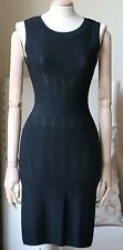 AZZEDINE ALAIA BLACK PERFORATED STRETCH KNIT DRESS UK 8/10
