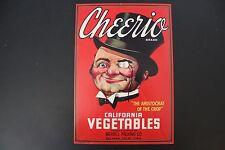 Vintage Cheerio Crate Label Salinas, CA.