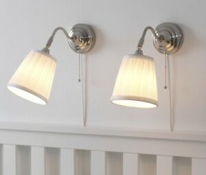 Pair Ikea Arstid Wall Lamp Silver Brushed Nickel Plated Light Adjustable Two