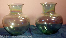 Light Green Glass Vases by Toyo - Pair of Two