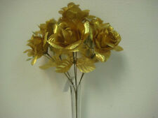 2 Bushes GOLD Open Roses Artificial Silk Flowers Bouquet 6-039AGD
