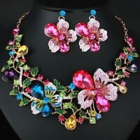 Fashion Flowers Bib Choker Crystal Pendant Necklace Earrings Party Jewelry 2019N