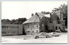 Monticello Iowa~Presbyterian Church~1950s Buick~Cars~Real Photo Postcard~RPPC