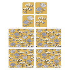 Cooksmart Retro Meadow Placemats and Coasters Modern Floral Mustard Yellow Grey
