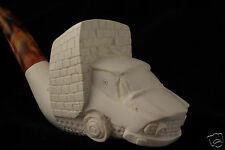 Car Busting Out of Wall Hand Carved Block Meerschaum Pipe in a fitted CASE 4872