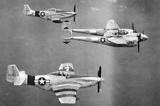 WWII B&W Photo P-51 Mustangs Escort P-38 Lightning World War Two WW2 /5083