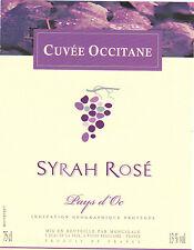 Etiquette de vin - Wine Label - Cuvée Occitane - Syrah Rosé - Pays d'Oc