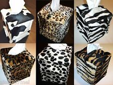 Faux Fur Soft Velboa Animal Print Tissue Box Holder Cover with Zip Fastening