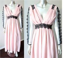 Princess Empire Waist Vintage Crochet Trim Sheer Long Sleeve Plunging V Dress S