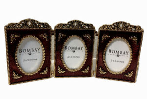 Bombay Company 3 Mini Oval 2*3 Inches Red/Gold Frames