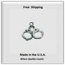 Hand Cuffs  Charm  for Necklace/Bracelet/Earrings Silver Tone