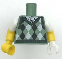 Lego New Green Golf Minifigure Torso Argyle Sweater Vest Pattern Yellow Arms