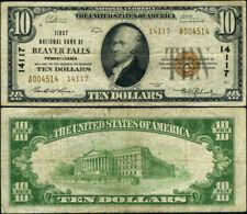 Beaver Falls PA-Pennsylvania $10 1929 T-2 National Bank Note Ch #14117 FNB Fine+
