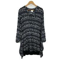 Label Of Love Womens Dress Size 12 Black White Boho Long Sleeve Button Closure
