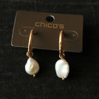New Chicos Pearl Drop Dangle Earrings Gift Fashion Women Party Holiday Jewelry