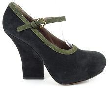Marni Black & Olive Green Nubuck Leather Mary Jane Platform Pumps 36 US 6 $830