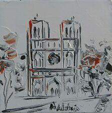 tableau original contemporain peinture Notre Dame de Paris white