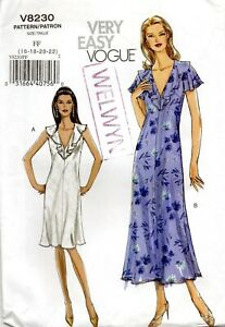 Vogue Sewing Pattern 8230, Very Easy Dress, Semi-Fitted, Bias Cut, Size 16 18 20