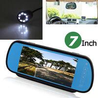 HD 7'' LCD Car Rear View Mirror Monitor LED Night Vision Reverse Backup Camera
