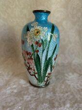More details for antique japenese cloisonne ginbari signed vase