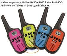 Uniden UH35-4 UHF 4 Handheld 80Ch Radio Walkie Talkies +4 Belts Quad Colour PK3