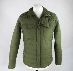 Mens LEVIS Lightly padded Puffer Quilted Jacket Size SMALL Khaki Waterproof Coat