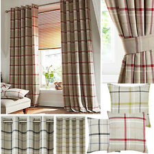 Hudson Woven Check Jacquard Lined Ring Top Curtains - Green, Grey & Red SMART