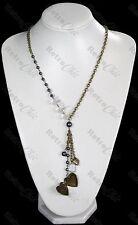 HEART LOCKET NECKLACE pendant BEAD CHARM vintage brass FAUX PEARL beaded RETRO