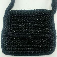 7336d1444111 Vintage Magid Black Beaded Raffia Evening Purse Bag Made in Italy Woven Bag