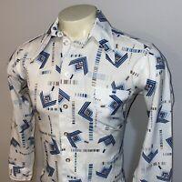 Vtg 60s 70s Disco Shirt MENS MEDIUM Polyester Ugly Geometric Print Boogie Nights