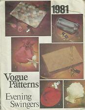 Vtg Vogue 1981 Evening Swingers Handbag Purse Pattern Clutch Pouch Clamshell UC