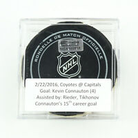 2015-16 Kevin Connauton Arizona Coyotes Game-Used Goal-Scored Puck -Caps Logo