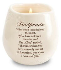 Footprints  Candle in a Stoneware Jar Filled with Scented Soy Wax Religious Gift