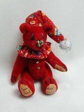 """World of Miniature Bears 2.5"""" Plush Bear Checkers-Red #1035 Collectible Bear"""